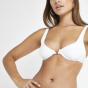 Haut de bikini triangle blanc à fermoir clip sur le devant