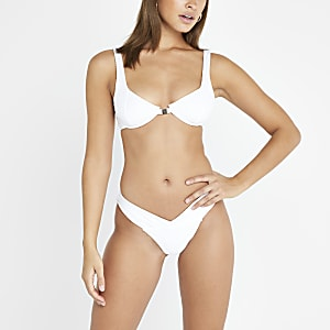 White V front high leg bikini bottoms