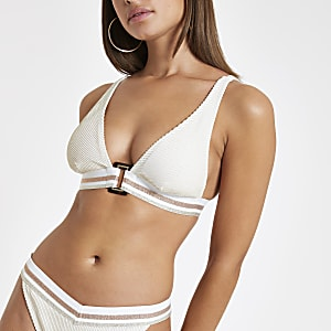 Cream elastic high apex triangle bikini top