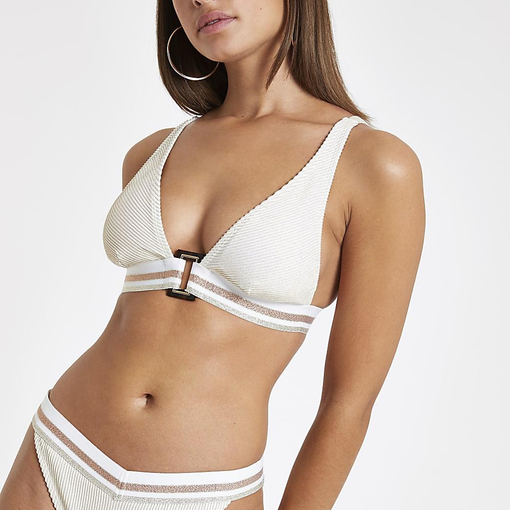 Cream elastic high apex triangle bikini top