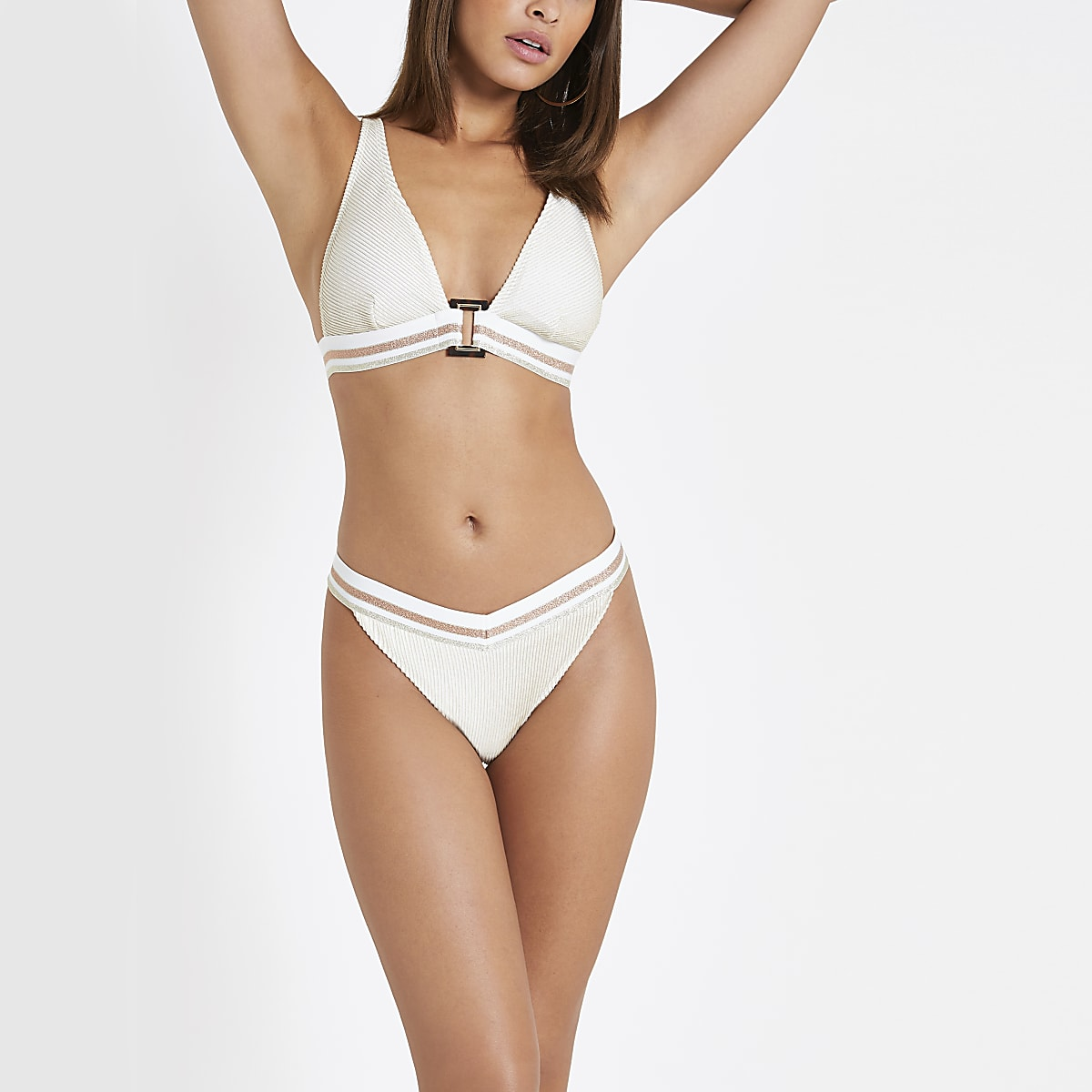 Cream elastic high leg bikini bottoms