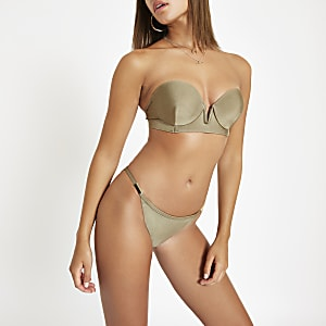 Khaki gold tone trim high leg bikini bottoms