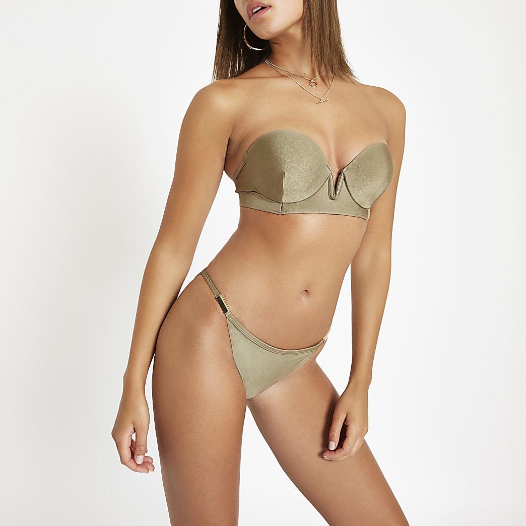 Khaki gold tone trim high leg bikini bottoms