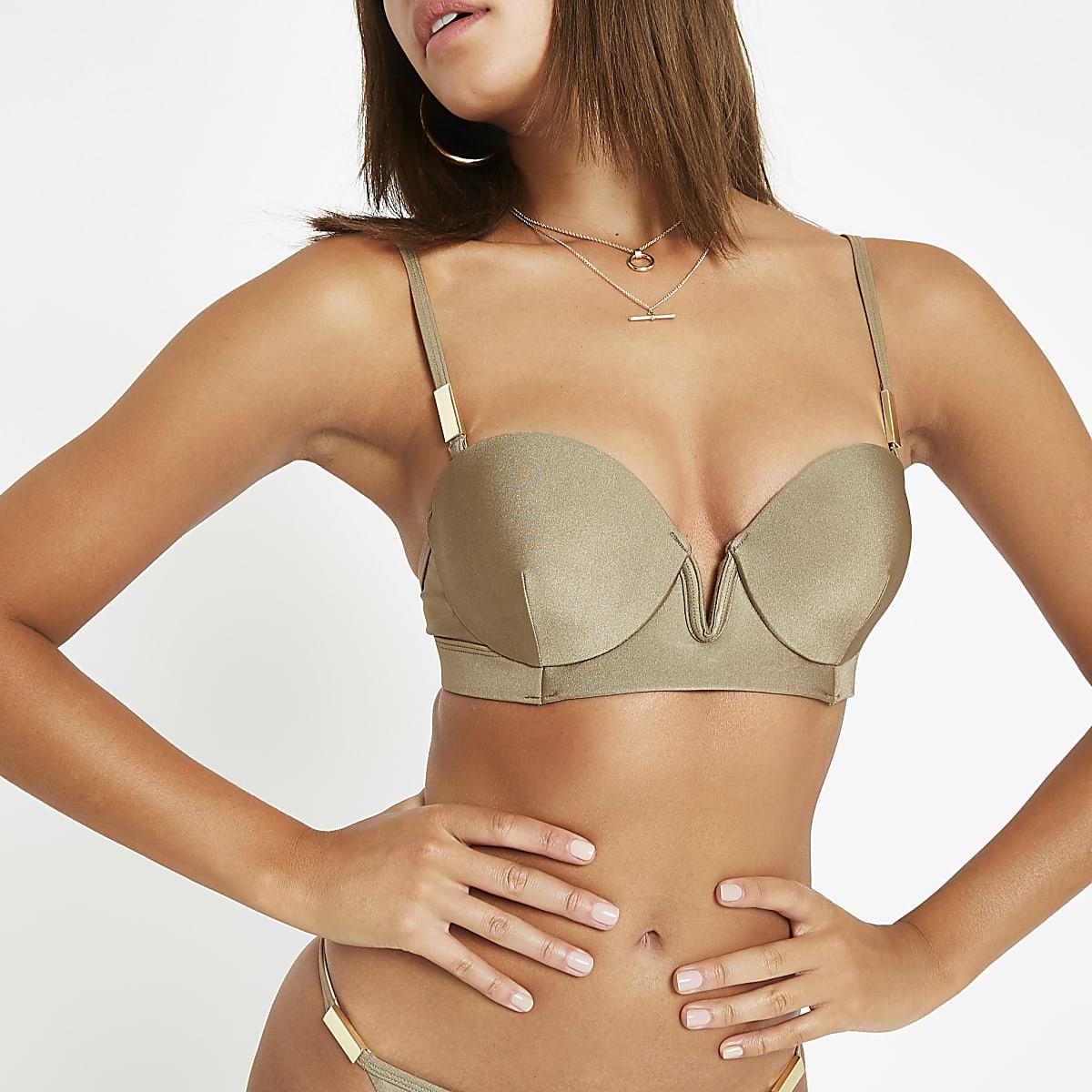 Kaki balconette bikinitop met V-beugel