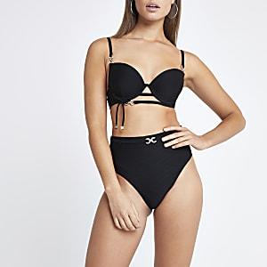 Black rhinestone trim plunge bikini top