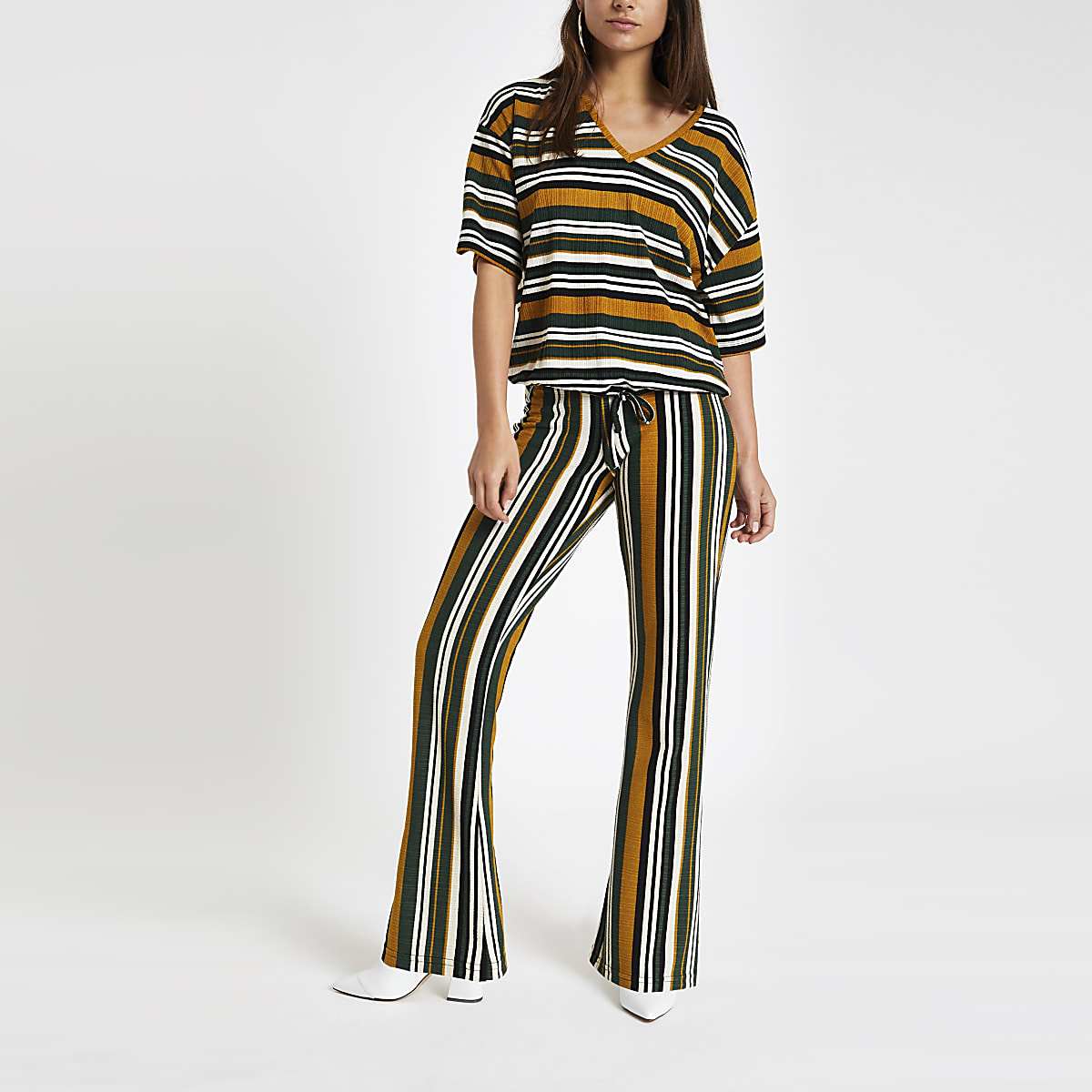 Petite green stripe jersey top