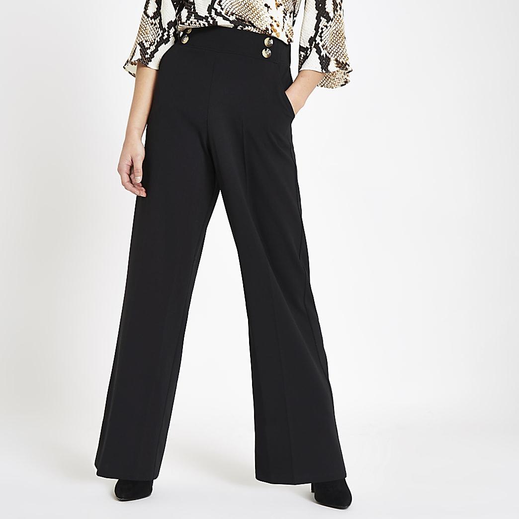 RI Petite - Zwarte broek met wijde pijpen en knopen