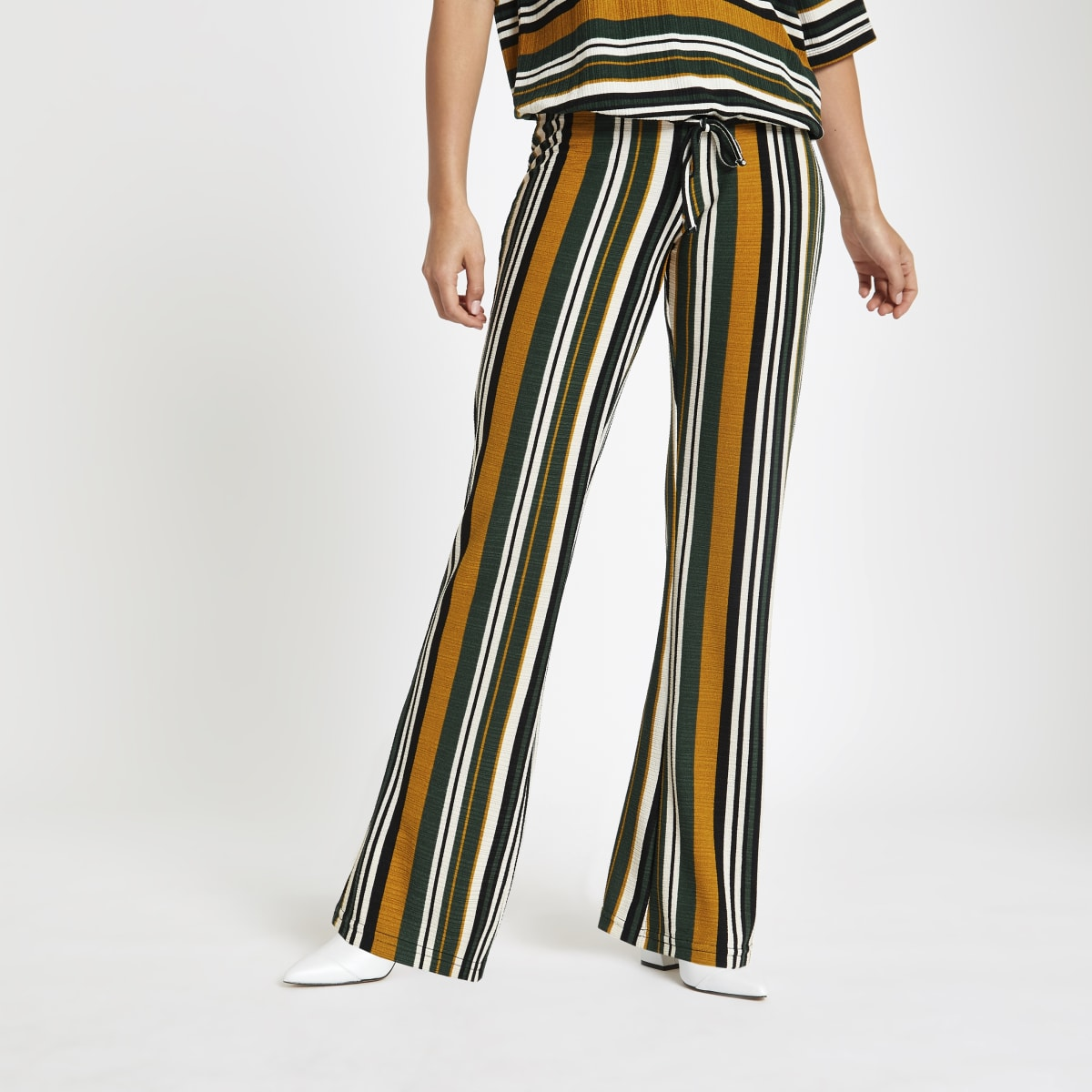Petite green stripe wide leg trousers