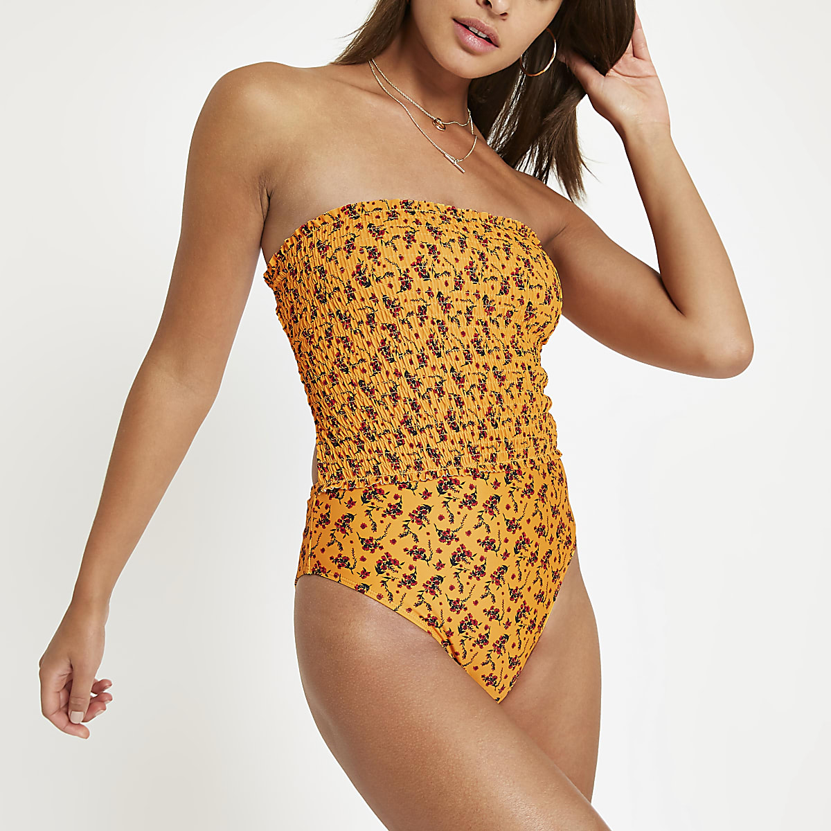 Yellow floral shirred bandeau swimsuit