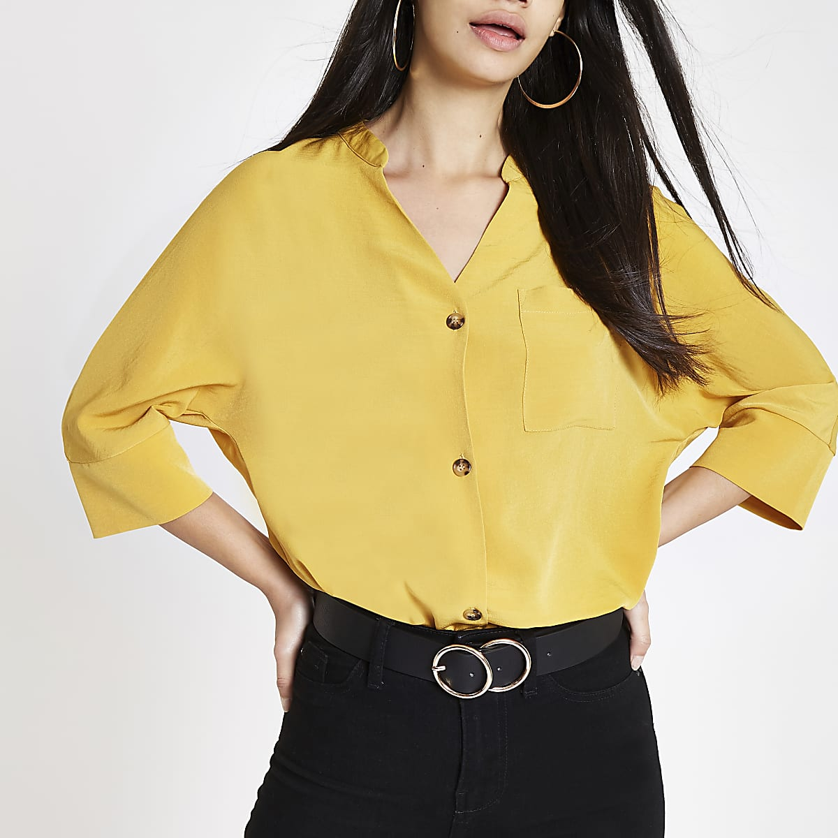 c960bae7 Yellow button up v neck blouse - Blouses - Tops - women