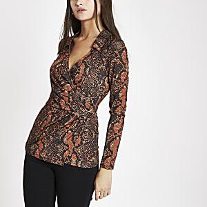 Orange snake print wrap front top