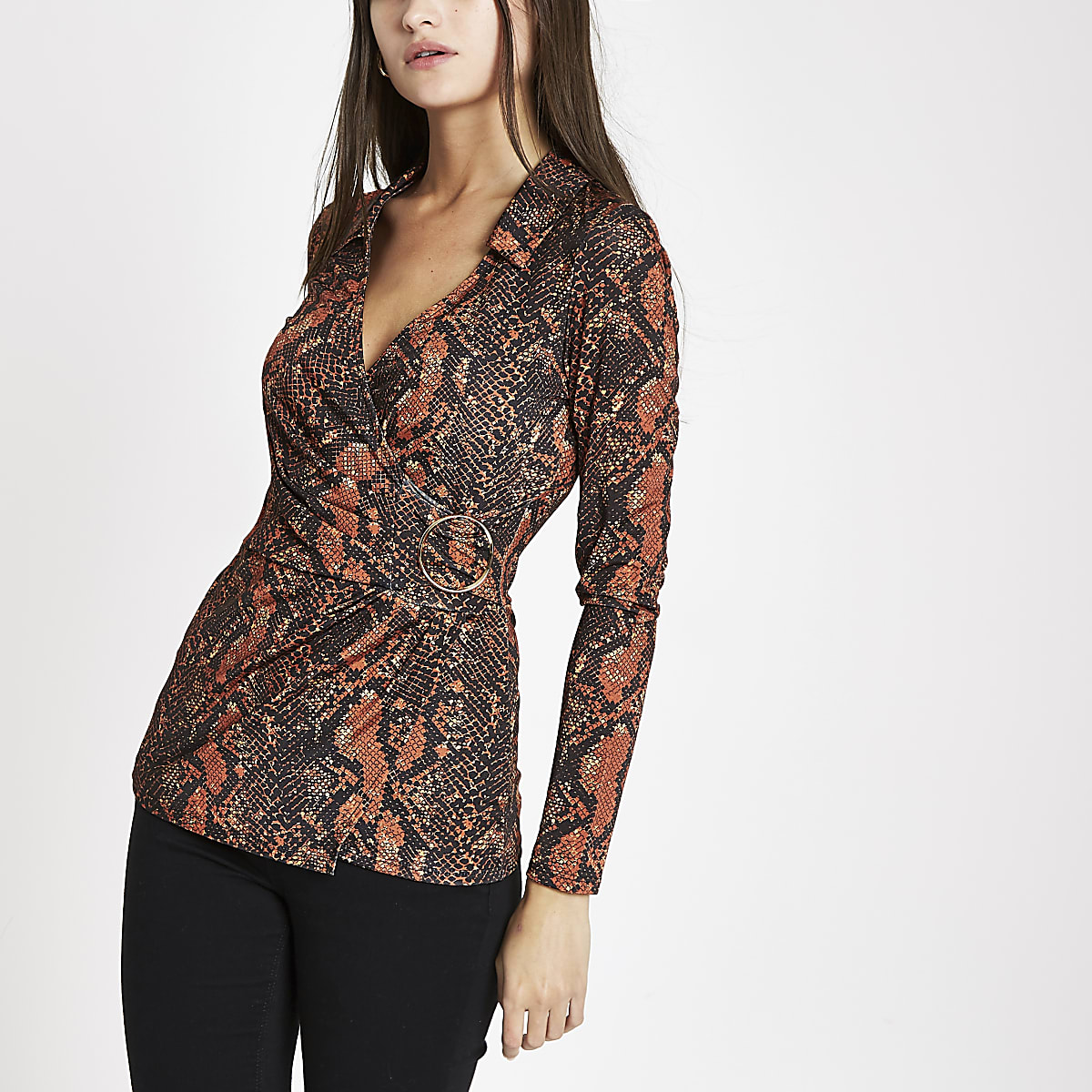 Orange snake print wrap front top