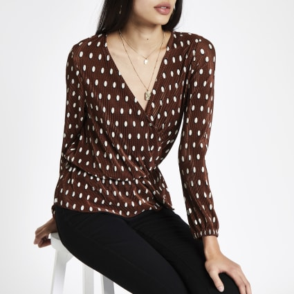 Brown polka dot plisse wrap top