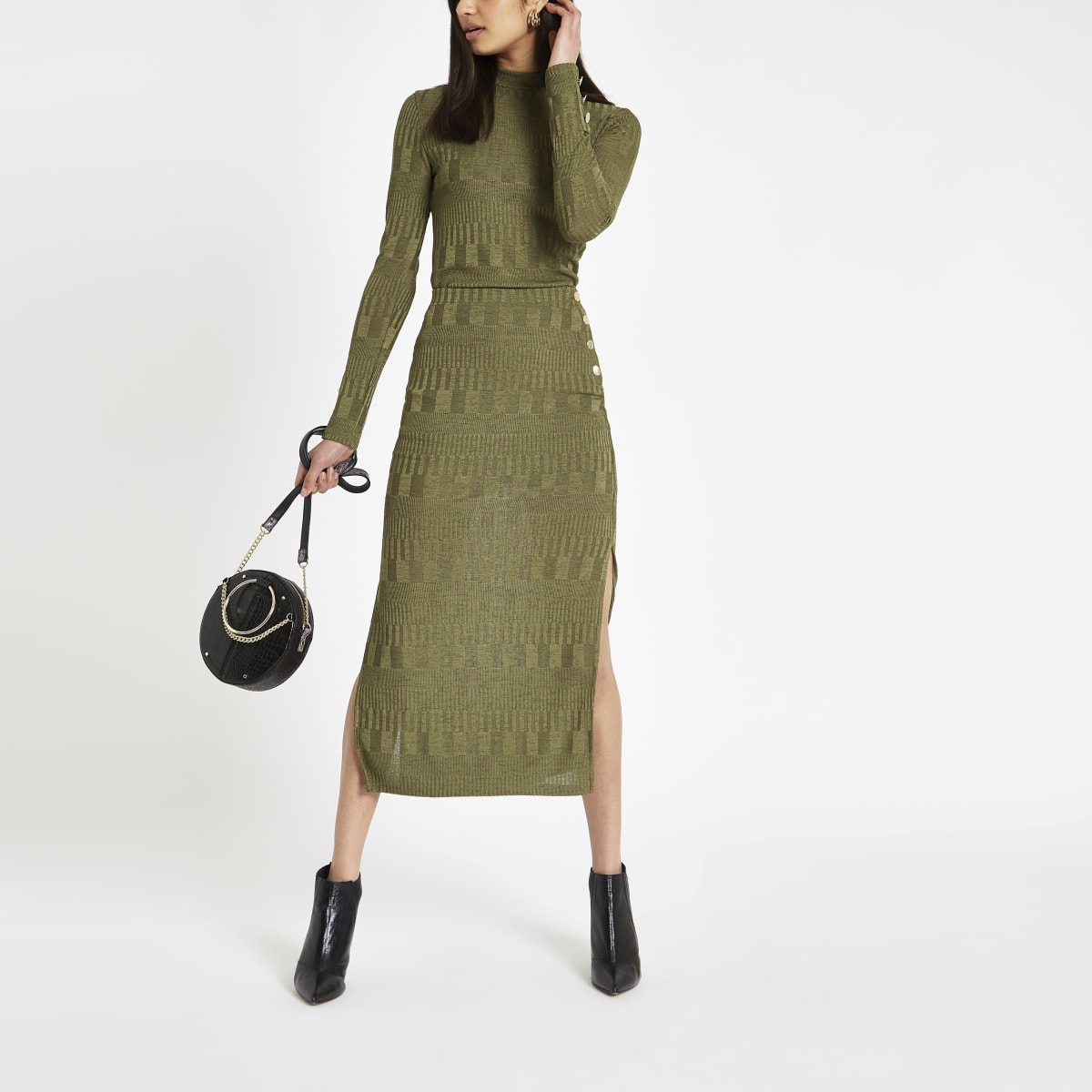 Green ribbed high neck fitted top