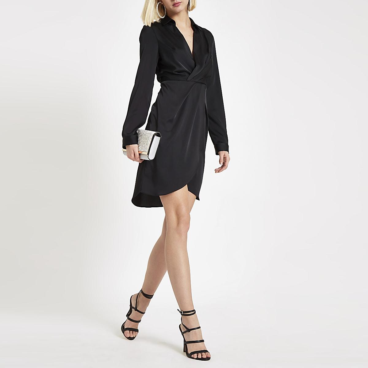 2762e3db8f Robe chemise portefeuille noire - Robes chemises - Robes - Femme
