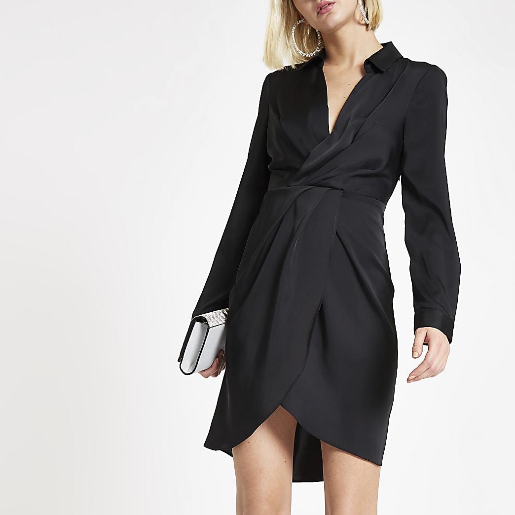 Black wrap front shirt dress