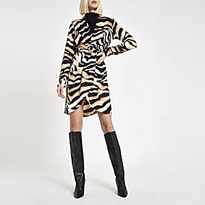 3e8b4afb609 Beige tiger print wrap front shirt dress
