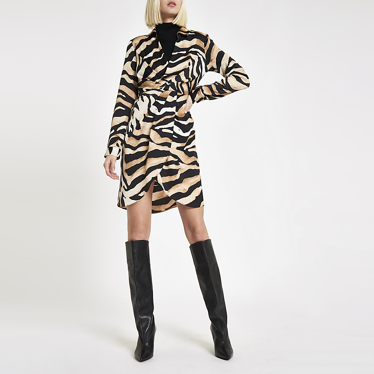 Beige tiger print wrap front shirt dress
