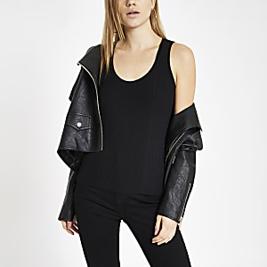 Black ribbed scoop neck vest top