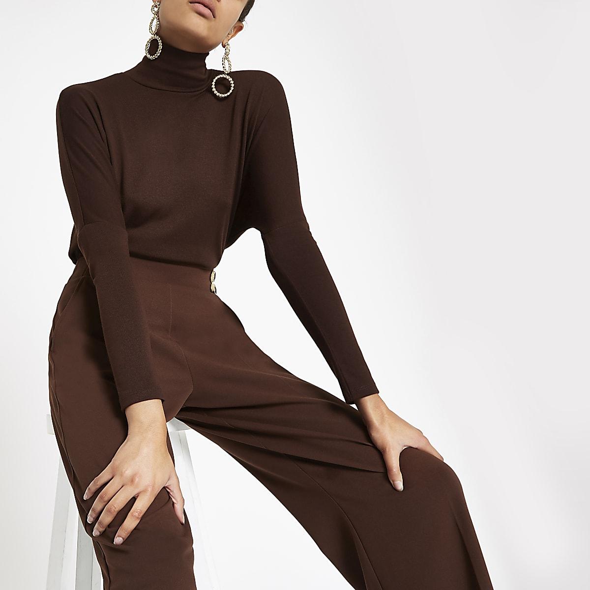 Dark brown roll neck batwing sleeve top