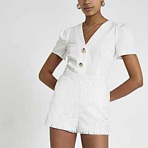 Witte kanten short