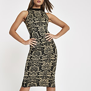 Black baroque print midi dress