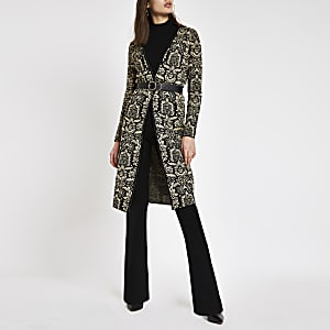 Black baroque print long line cardigan