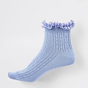 Chaussettes en maille torsadée bleues à volants