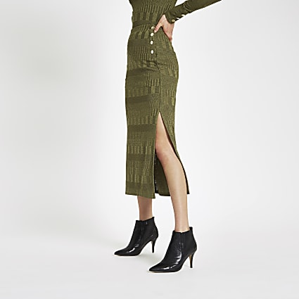 Khaki button side jersey midi skirt