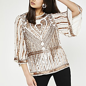 Brown sequin cape sleeve top