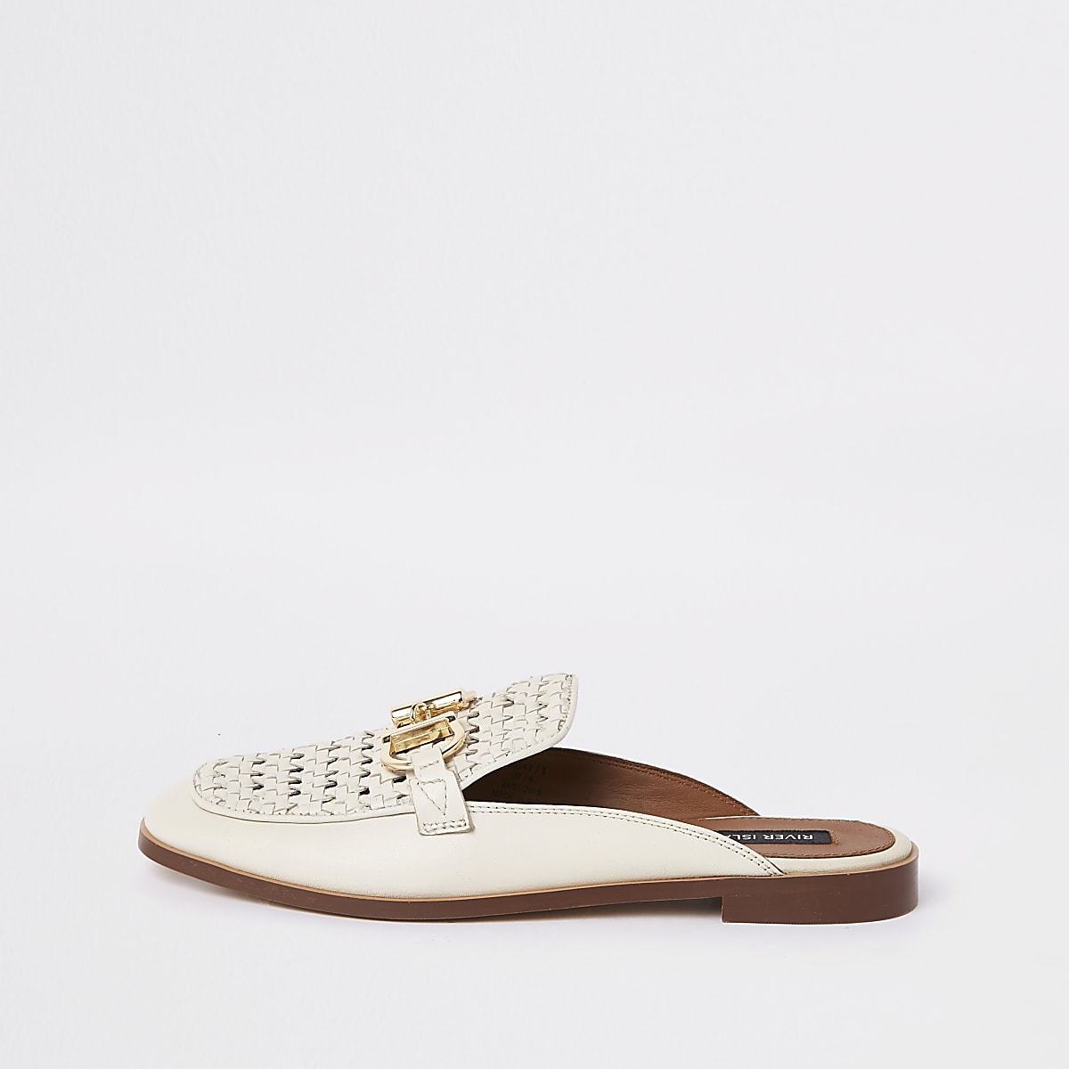 Cream backless leather snaffle loafers