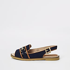 Navy snaffle front peep toe loafers