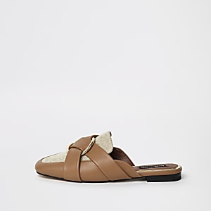 Brown ring backless loafer