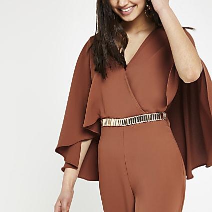 Rust cape sleeve wide leg jumpsuit