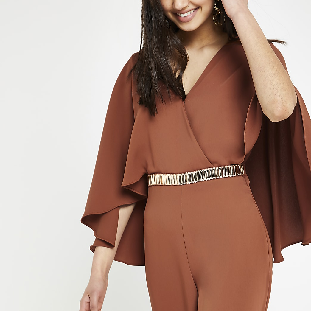 Rust cape sleeve wide leg jumpsuit
