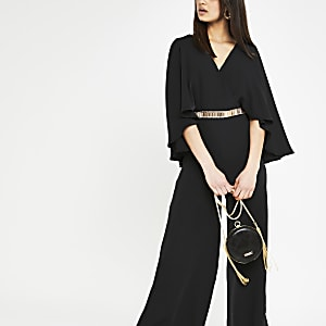 de56d77bed7 Black cape sleeve wide leg jumpsuit