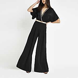 Pantalon large noir plissé