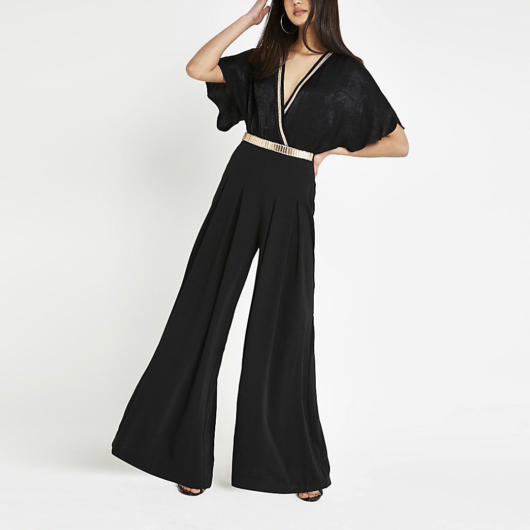 Black wide leg pleated trousers