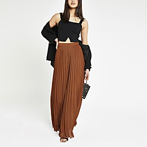 Brown pleated wide leg pants