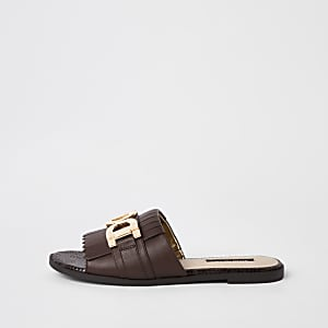 Brown peep toe backless loafers