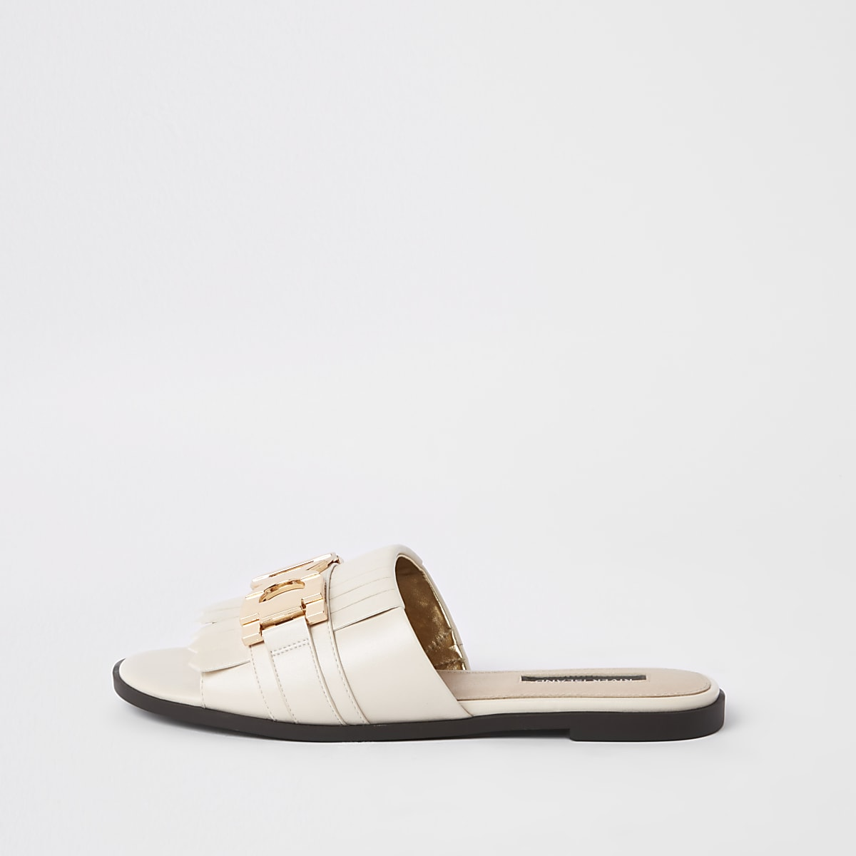 White peep toe backless loafers