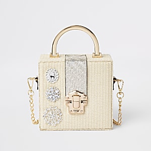 Cream woven gem boxy cross body bag