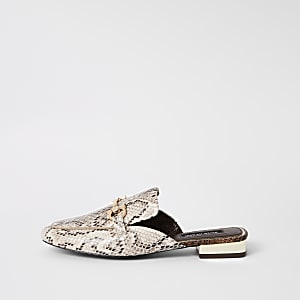 6687875b8 Beige snake print snaffle backless loafers