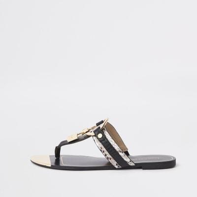Black padlock toe post sandals