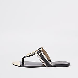 Black padlock toe post sandals