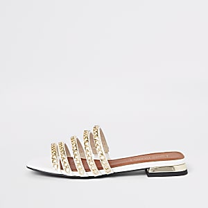 Gold multi chain strap flat mules