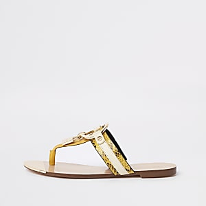 Gelbe Sandalen mit Zehensteg
