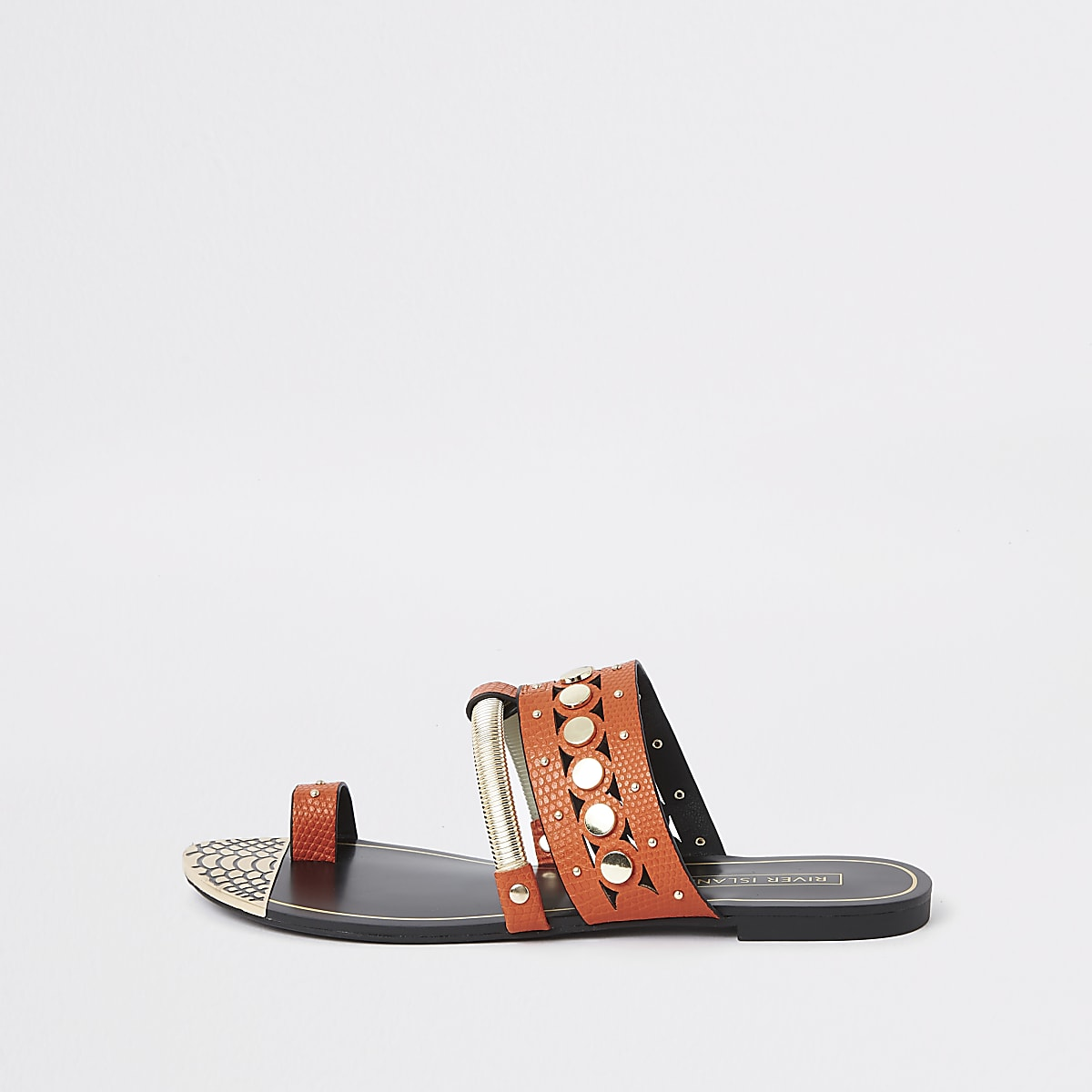 Orange trim toe ring sandals