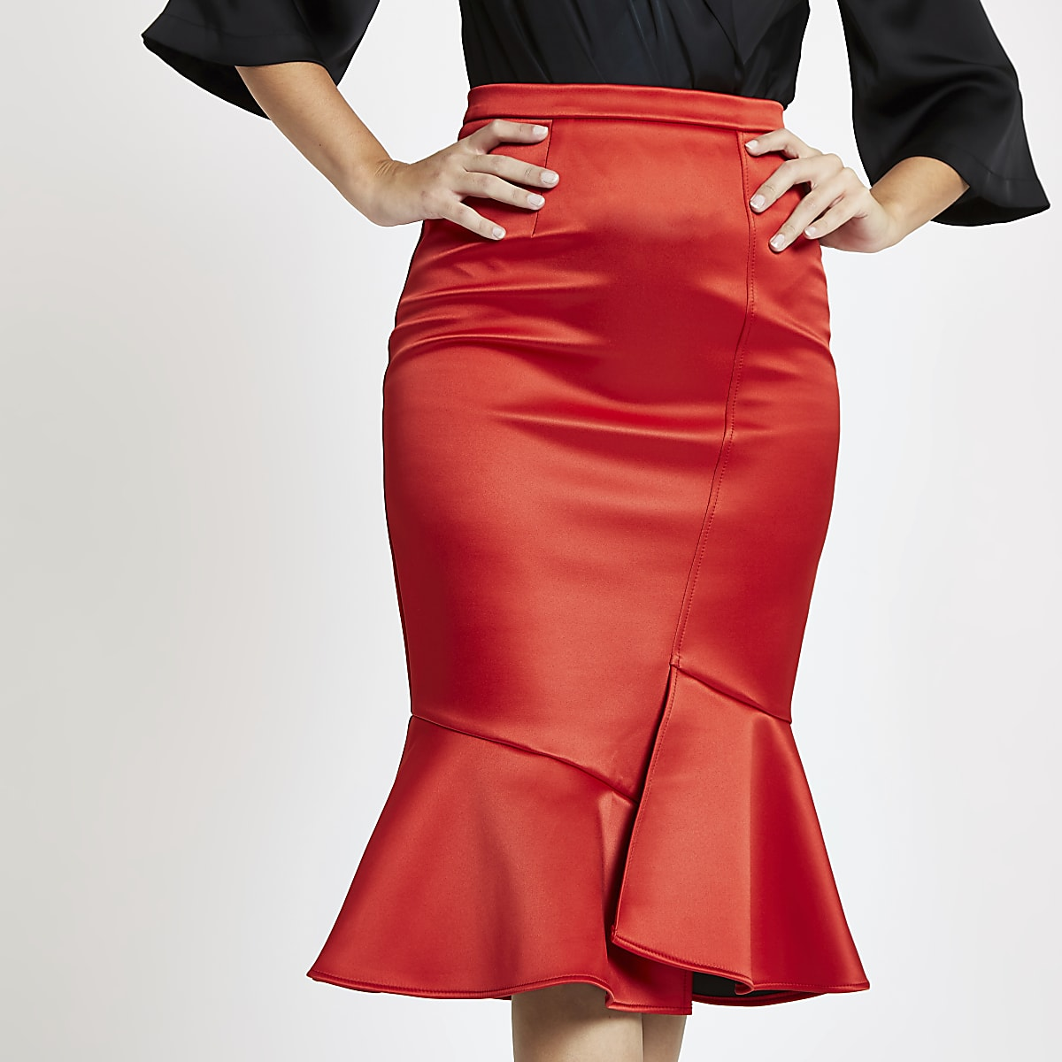 1226ff44f Red satin frill hem pencil skirt - Midi Skirts - Skirts - women