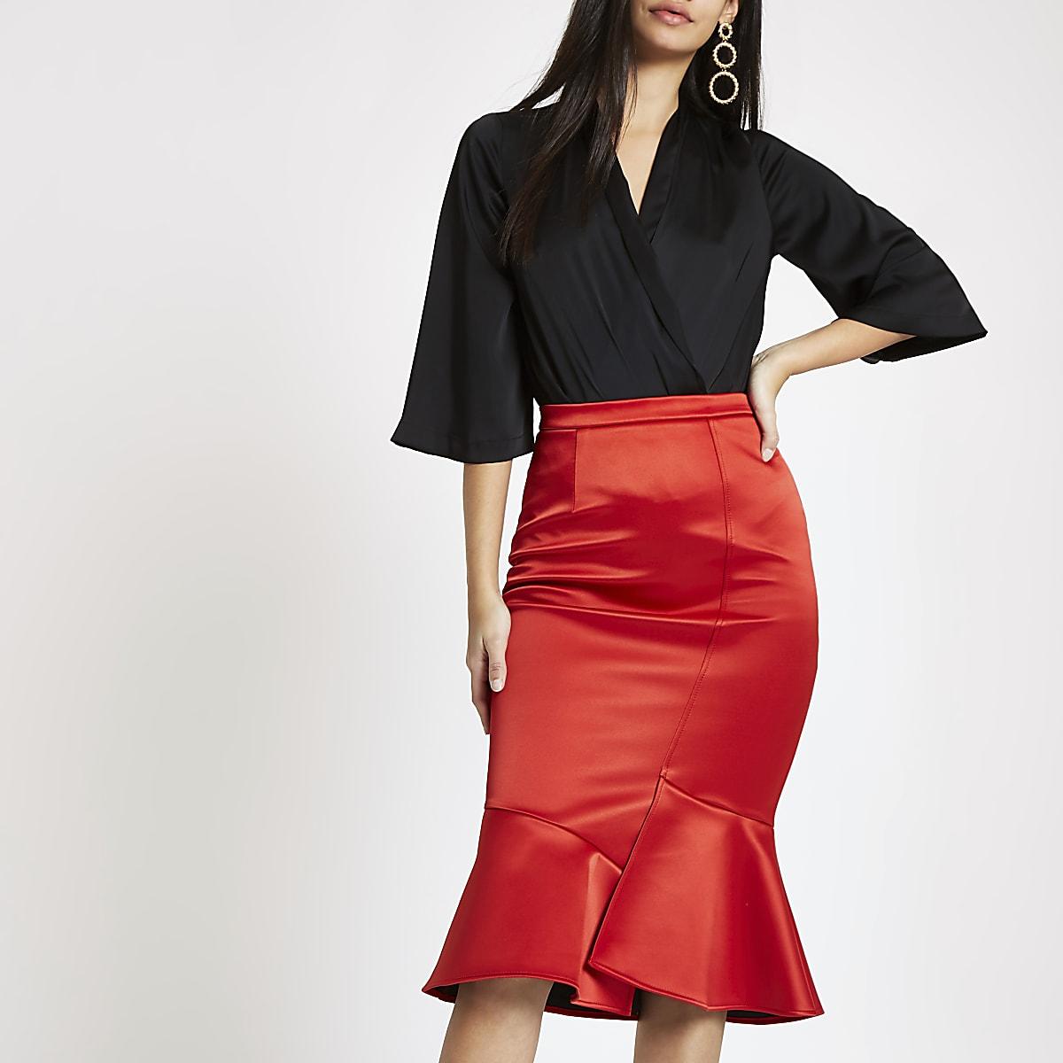 281d36e7a Red satin frill hem pencil skirt - Midi Skirts - Skirts - women